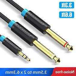 "1/8"" 3.5mm to 6.35mm 1/4"" *2 Mono Stereo Y-Splitter Cable fo"