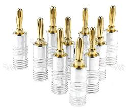 10Pcs 4mm Speaker Cable Wire Screw Banana Plug Connector 24k
