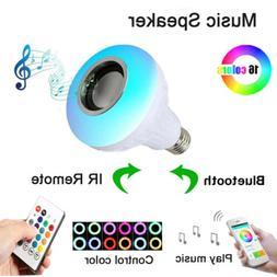 12W Wireless Music Bulb Speaker Lamp LED Light RGB Color + E