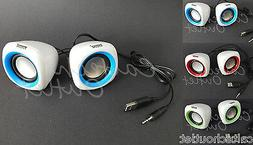 2PC 3.5mm USB Powered Portable Stereo Mini Speakers Desktop
