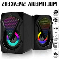 2x Speakers Bass Stereo Subwoofer Surround Sound System RGB