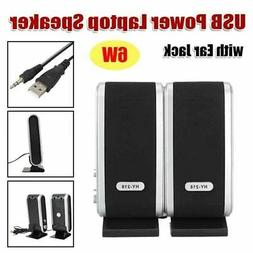 2x USB Powered Computer Speakers Stereo 3.5mm w/ Ear Jack Fo