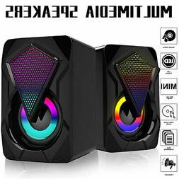 3.5mm RGB LED Mini USB Wired Computer Speakers Stereo Bass F