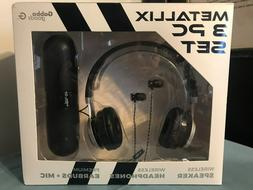 GABBA GOODS 3Pc Set METALLIX Wireless SPEAKER~HEADPHONES~Pre