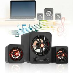 3PCS USB Wired LED Sound Surround Speakers Stereo Super Bass