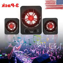 3pcs usb wired led speakers stereo sound