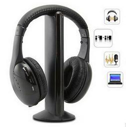 5 in 1 Headset Wireless Headphones Cordless RF Mic for PC TV