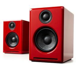 Audioengine A2+ Wireless Desktop Bluetooth Speakers - Red -