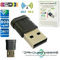 AC600 USB WiFi Adapter High-Speed Dual-Band 600Mbps 2.4G/5GH