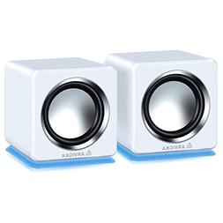 ARVICKA Blue LED USB Speakers- Wired Laptop Speakers 2.0 Cha
