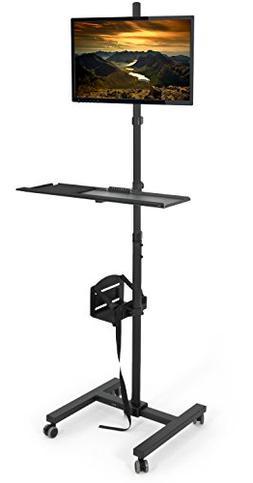 VIVO Black Computer Mobile Cart Rolling Stand | Adjustable M
