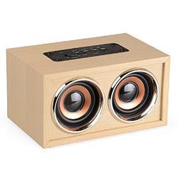 Bluetooth 4.0 Speaker, KeepMoving Wooden 10W Dual Sound Hi-F