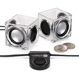 Clear Cube USB Powered Wired PC Speakers by GOgroove - SonaV