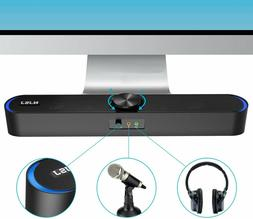 Computer Soundbar USB Powered 3.5mm Aux Speakers with LED fo