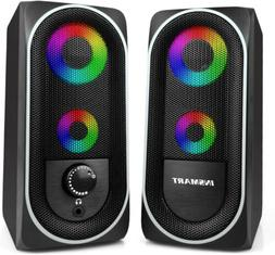 Computer Speakers 2.0 Stereo Volume Control RGB led Light US