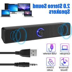 Computer Stereo Soundbar Speaker USB Powered 7 color LED For