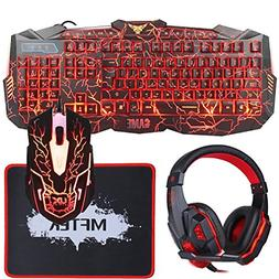 MFTEK Backlit Wired Gaming Keyboard and Mouse Combo with LED