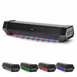 Gaming Speaker Soundbar - Under Monitor PC LED Speaker with