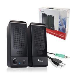 GENUIS U120 Computer USB Black Speaker Set 2.0 for PC Laptop