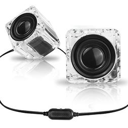 SCS ETC Ice Crystal 3.5 mm Computer Speakers, Wired Computer