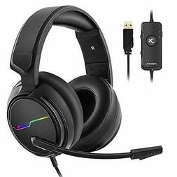 USB Pro Gaming Headset for PC- 7.1 Surround Sound Headphones