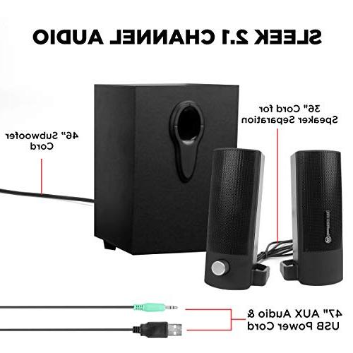 GOgroove with SonaVERSE UTR PC Speakers Peak Power, 3.5mm and Satellites for Laptops