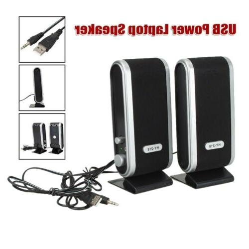 2x Portable USB Power Computer Speakers Stereo w/ Ear Jack F