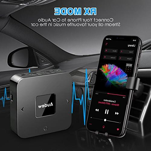 AUDEW Transmitter 2 in 1,Bluetooth Audio Adapter for Stereo,Digital Optical TOSLINK,3.5mm AUX&RCA,Pair at Once-Upgraded Low Latency