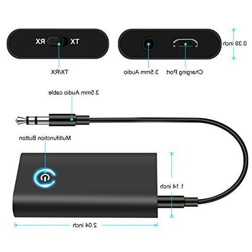 Bluetooth Transmitter Receiver, 2-in-1 Bluetooth V4.1 with 3.5mm AUX Output PC/TV/Home Car Sound Headphones Black
