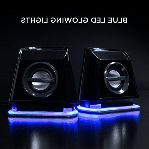GOgroove 2MX Computer Speakers with Blue Stereo 3.5mm Input USB Desktop and Laptop Computers