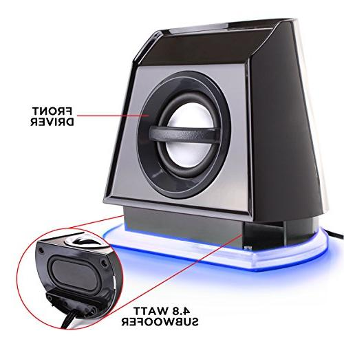 GOgroove Speakers with Powered Blue Stereo Sound 3.5mm Connection, USB Powered for PC, Desktop