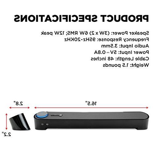 GOgroove USB Computer Mini SonaVERSE UBR Desktop PC Built-in Volume Easy Setup