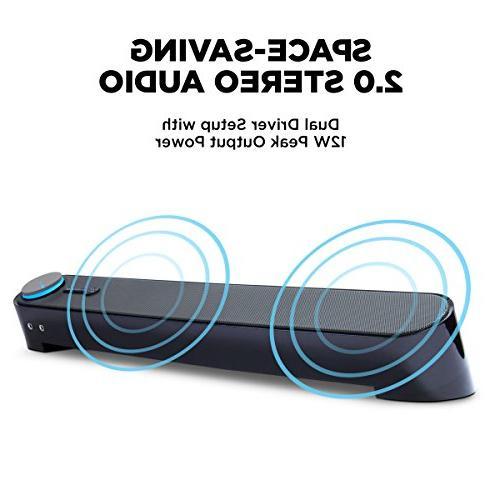 GOgroove USB Computer Mini Sound - SonaVERSE Under Desktop Speaker PC w/Headphone Built-in Easy Setup