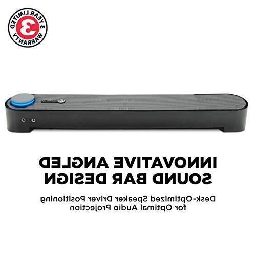 GOgroove Computer Mini Sound SonaVERSE Desktop Speaker Built-in Volume Knob, Easy USB Wired Setup
