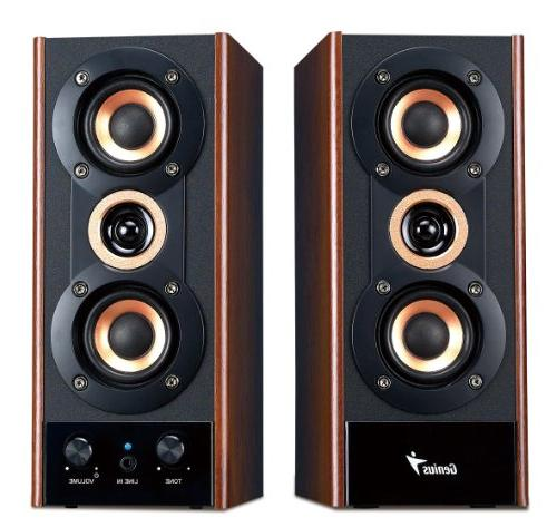 Genius Hi-Fi Wood Speakers for PC, players, and