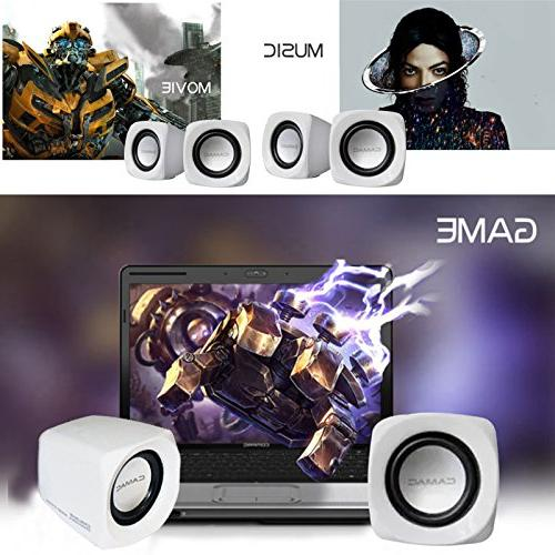 Portable Computer Powered Small Speakers Clear Music Aux for Movie Notebook Mac