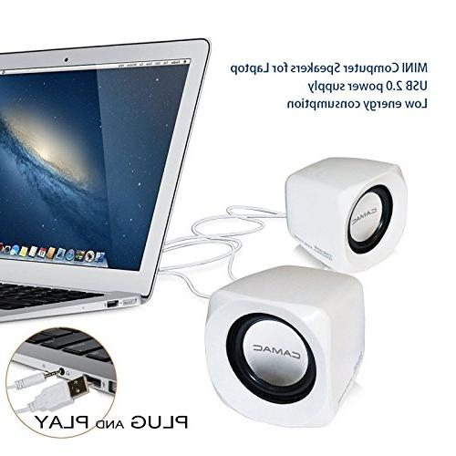 Portable Computer USB Powered Desktop Small Speakers Clear Sound Music Player 3.5mm Aux for Movie Computer Notebook Mac Laptops Smartphones White
