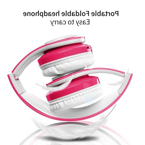 Wireless Bluetooth Headphones,VOTONES Girl Wired Lightweight Foldable Earphone Microphone in TF Card for Study PC