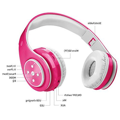 Wireless Bluetooth Girl Foldable Over Earphone Line in TF Study Compatible PC