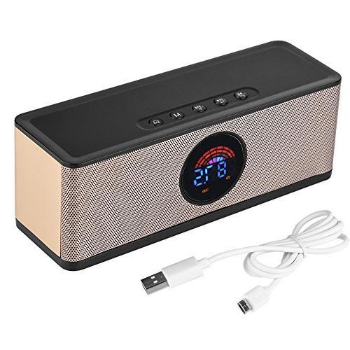 fosa Digital Alarm Clock Bluetooth Portable FM Speaker with Bedroom Office iPhone Laptop Desktop Computer