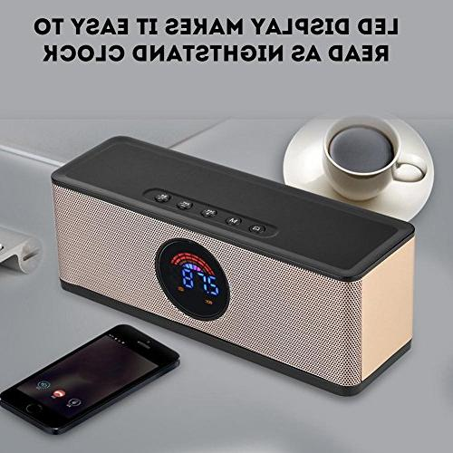 fosa Digital LED Clock Speaker, Wireless Portable Speaker with USB for Bedroom Office iPhone Android Computer