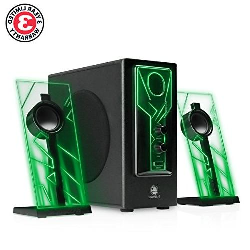 GOgroove BassPULSE Speakers Green LED Glow Lights Subwoofer System Music on Desktop , PC with 40 Watts ,