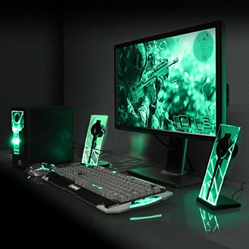 GOgroove Computer Speakers Green Glow Lights and Powered Subwoofer - System Desktop Laptop PC with ,