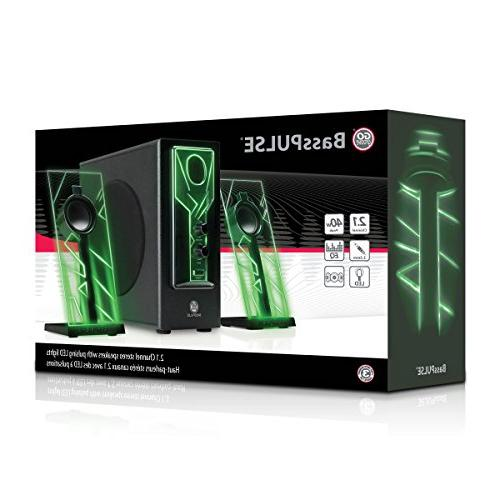 GOgroove BassPULSE Speakers with Glow and Subwoofer Gaming System for Music Desktop , , PC 40 ,