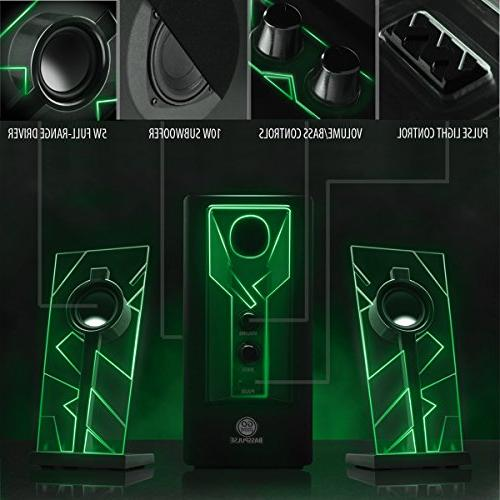 GOgroove BassPULSE Speakers with LED Glow Lights Subwoofer System Music Desktop PC with Watts ,
