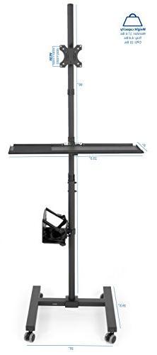 VIVO Mobile Cart Adjustable Monitor Case Tray