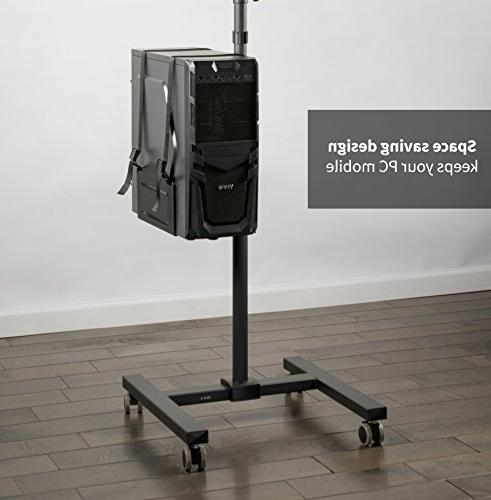 VIVO Black Computer Cart | Adjustable Case Holder & Tray