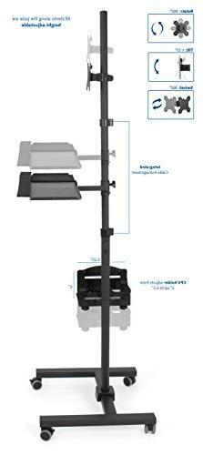 "VIVO Black Cart Stand Adjustable 32"" Tray"