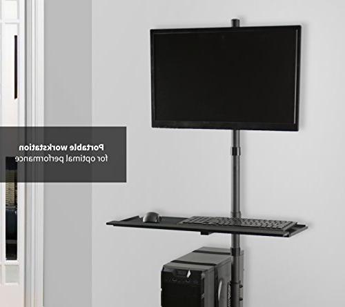 VIVO Black Computer Cart Rolling Adjustable Monitor Case Tray Moving