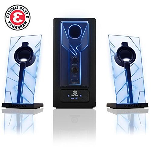 GOgroove Bluetooth Speakers with Subwoofer, Glowing Blue Lights Foot Wireless Range - Your Laptop, Smartphone, Tablet More Devices